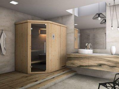 įvairaus dydžio surenkamos namų pirtys - saunos